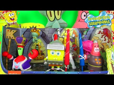 Spongebob Squarepants Dunces & Dragons Figurine Set Fun Family Toy Review, Just Play video