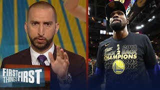 Nick Wright on if Kevin Durant will finish his career with the Warriors | NBA | FIRST THINGS FIRST