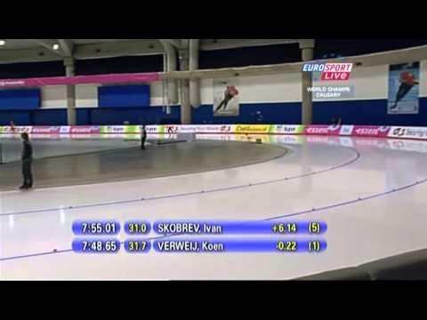 Победный забег Ивана Скобрева на чемпионате мира по конькобежному спорту - 2011 (Калгари)