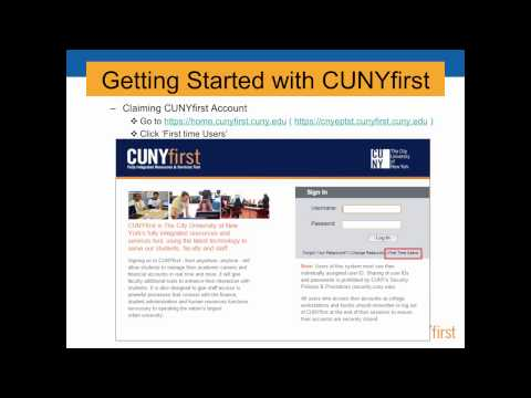CUNYfirst Getting Started Training Video