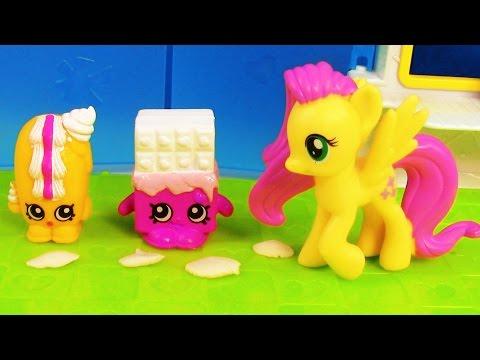 MLP Fluttershy Flutter Cake Shopkins Creamy Bun Bun My Little Pony Grocery Store Toy Playing