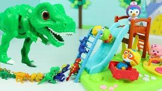뽀로로 놀이터 장난감 놀이 공룡 티라노사우루스 공룡메카드 뱅뱅이놀이터 Pororo Playground toy for Kids and Dinosaur toys Play