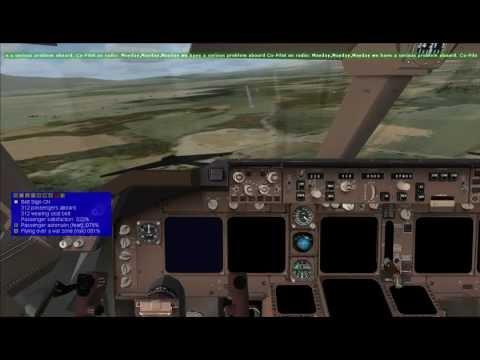 FSX FSPassengers War Zone Boeing 747-8F Cockpit - Emergency Landing Keyboard and Mouse HD