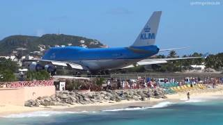 Extreme Jet Blast blowing People away at Maho Beach, St. Maarten..