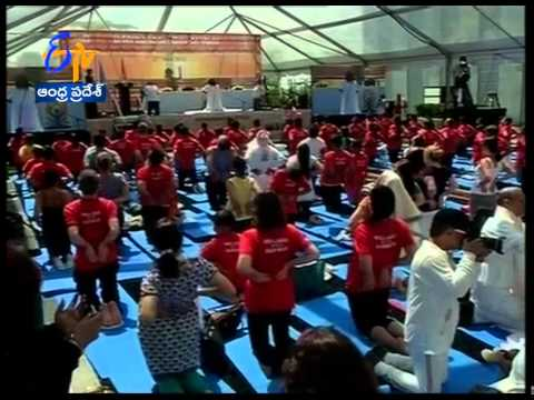 UNO Boss Ban Ki Moon & Sushma Swaraj Attends International Yoga Day Celebrations
