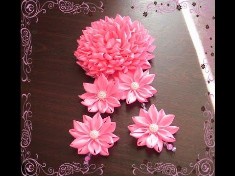 Канзаши пышные цветы мастер класс