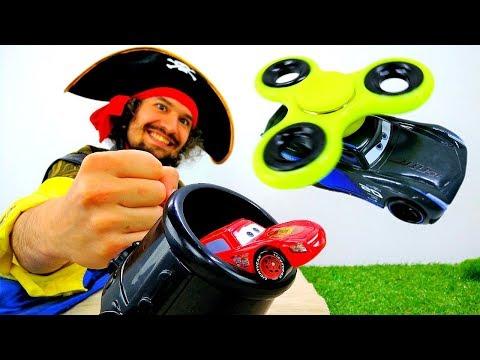 Видео игрушки #Тачки Молния Маквин и 🚗💨 Супер #ИгрыГонки со #СПИННЕР Видео для мальчиков #Пираты
