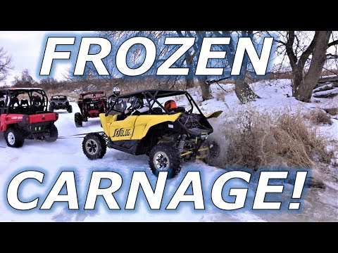 Frozen river ride! YXZ and X3 carnage and drifts!