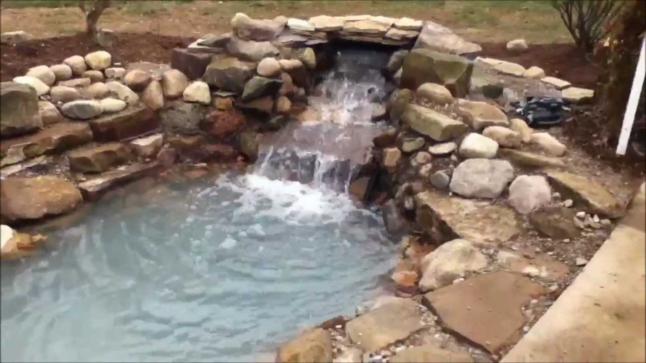 Natural stone pond w waterfall envisions landscape for Making a pond waterfall