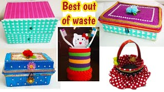 5 Waste material craft ideas#5 useful DIY from best out of waste#waste material reuse ideas