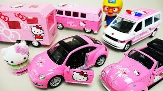Hello Kitty car toys with Pororo Tayo bus - ToyPudding 헬로키티 카 장난감