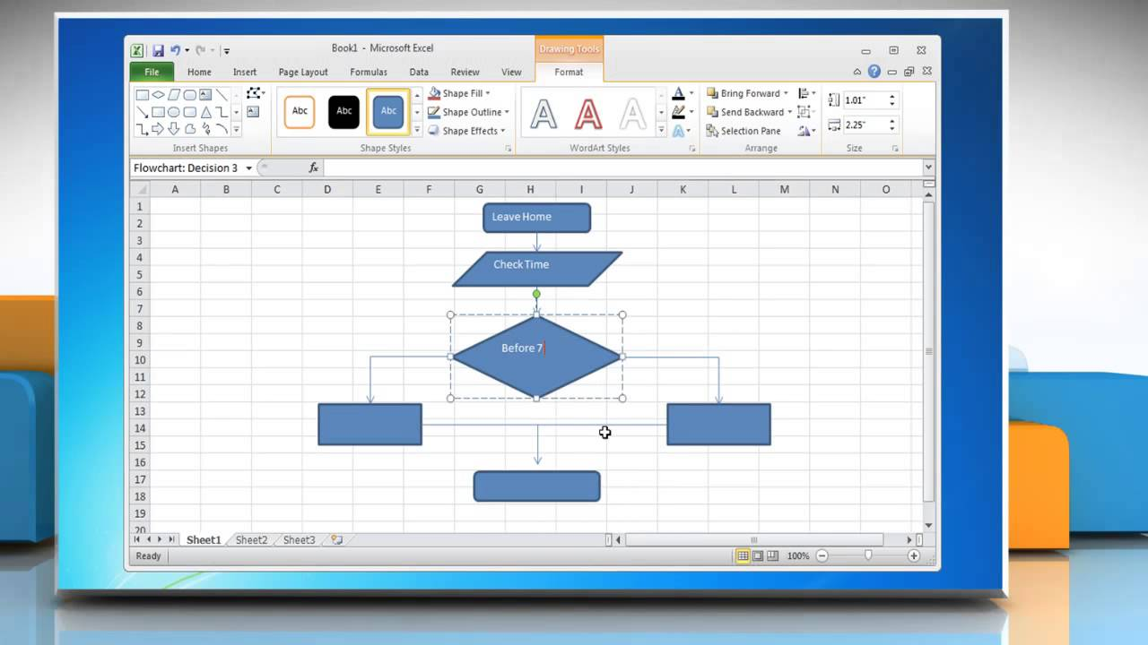 how to make a flow chart in excel 2010 youtube