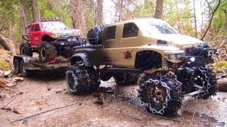 Download RC ADVENTURES - OVERKiLL PUTS CHAiNS ON PiNKY ~ MUDDY SCALE 4x4 TRUCKS & TRAILER 3Gp Mp4