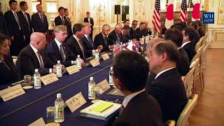 President Trump Participates in an Expanded Bilateral Meeting with Prime Minister Abe