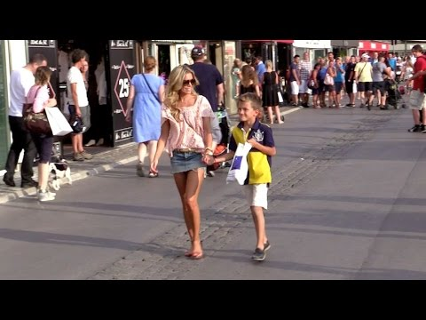 Sylvie Meis and her son Damian van der Vaart on St Tropez harbour