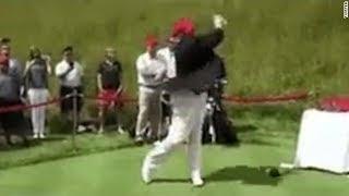 Trump retweets video hitting Hillary Clinton with golf ball