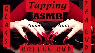 ASMR - tapping on: GLASS SURFACE; TEACUP; COFFEE CUP+NATURAL LONG NAILS