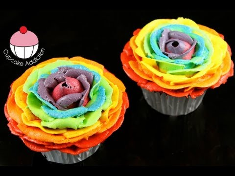 Make rainbow rose cupcakes stunning rainbow flower roses for How to make a multicolored rose