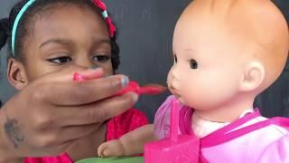 Doll and Washing Machine Toy Play -  Doli Food Change Wash playtoys