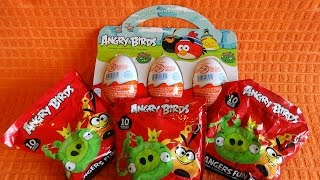 2015 Angry Birds Kinder Surprise Eggs & Hangers Fun Pack Toys to Collect Unpacking Sorpresa