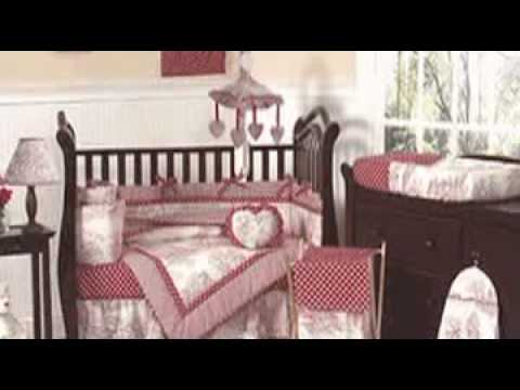 0 Red French Toile and Polka Dot Baby Crib Bedding by JoJo Des