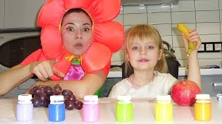 Nastya and Margo Play with toys and paint  fruits  Color Paints for Kids
