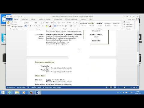 |Como hacer y elaborar un Curriculum vitae 2015| |Perfil y objetivo Profesional| Word 2013