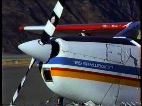 Cessna 185 Exhaust Flames Mt.Cook New Zealand 1990.