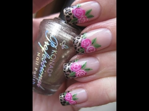 Nail art: Roses and leopard