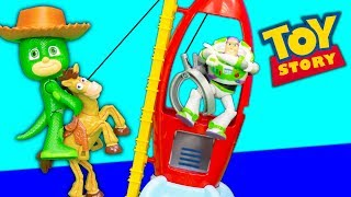 Paw Patrol has a Pretend Play Fun at Toy Story 4 Pizza Planet with Vampirina and PJ Masks