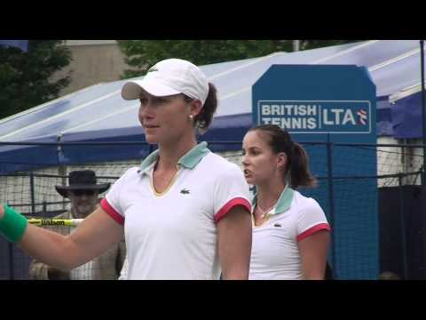Sam and Jarka - Arguing line calls in Eastbourne double