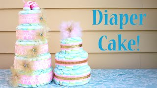 How To Make A Diaper Cake! Perfect Baby Shower Gift Idea!