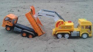 xe tải   xe xúc đất   xe máy xúc   xe công trình   siêu nhân   xe múc đất