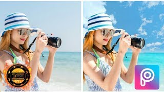 PicsArt guides the color of the sea and beautiful blue sky