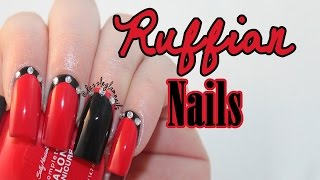 Black & Red Ruffian Nail Tutorial