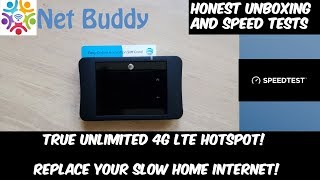 Netbuddy.co True Unlimited AT&T 4G LTE Hotspot (Honest Unboxing and Speed Tests) HD