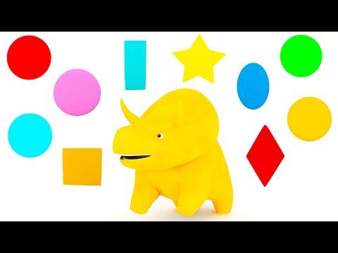 Aprender las formas y los colores con Dino el Dinosaurio   Dibujos animados educativos para niños