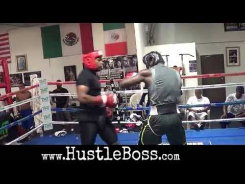 2012 US Olympian Michael Hunter sparring Andrew Tabiti at the Mayweather Boxing Club