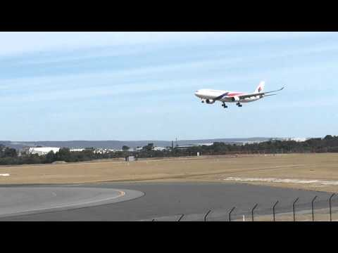 Malaysia Airlines A330 lands at Perth Airport