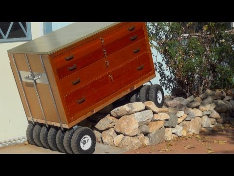 Built Monster TOOL BOX ~ 13 Wheel All Terrain Wooden Roll-away ~Review & Build~ diy