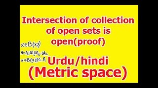 Theorem: Intersection of finite collection of open sets in Metric space is open proof in Hindi/Urdu
