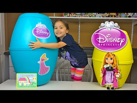 Huge Disney Princess Surprise Eggs with Play-Doh Princess Aurora Baby Doll Toys Inside Toy Review