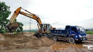 Máy xúc xúc cát lên xe ô tô   lk nhạc thiếu nhi ALiBABA   Excavator dump truck children's music