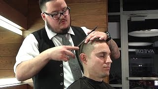 Men's Modern Side Part Pomp Fade With Serious ASMR Triggers