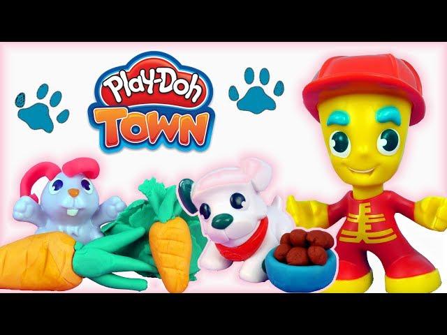 Play Doh Town •  Strażak • Jedzenie dla Zwierzaków • bajki po polsku