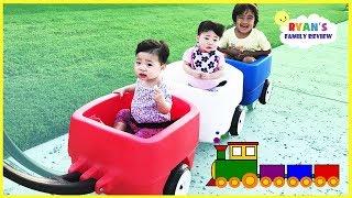 Kids Take Step 2 Choo Choo Triple Wagon to Outdoor Playground with Ryan