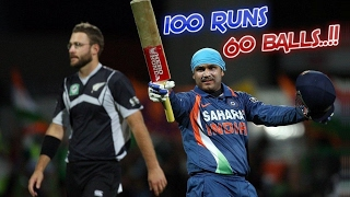 Virender Sehwag 125 off 74 Balls vs NZ | 2nd Fastest ODI Century for India - Shewag 100 in 60 Balls