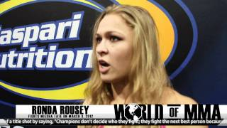 Ronda Rousey Talks Supplements, Diaz Brothers and Fighting Miesha Tate on March 3
