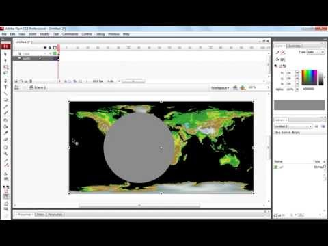 How to create earth globe rotating animation in flash