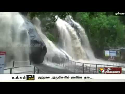 Heavy flow in Courtallam Falls, visitors upset over bathing ban
